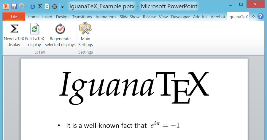 iguanatex a free latex add in for powerpoint on windows
